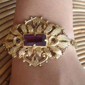 Antique Costume Braclet w Amethyst Glass Stone